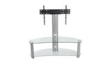 AVF Reflections - Jelly Bean 1200 Curved Pedestal TV Stand (Silver/Clear Glass)
