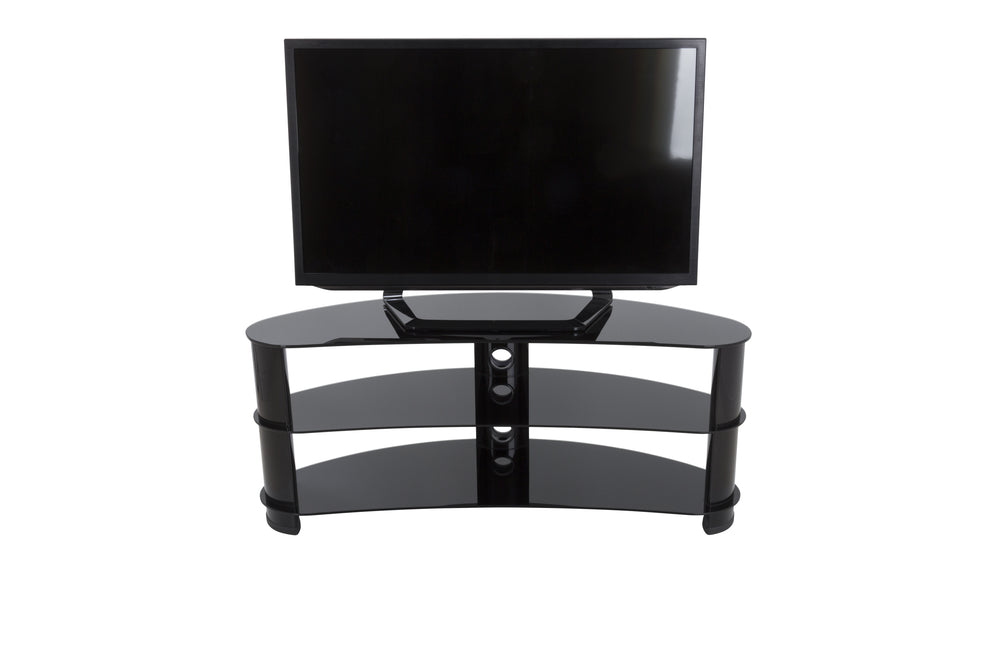 AVF Reflections - Jelly Bean 1200 Curved TV Stand (Black/Black Glass)