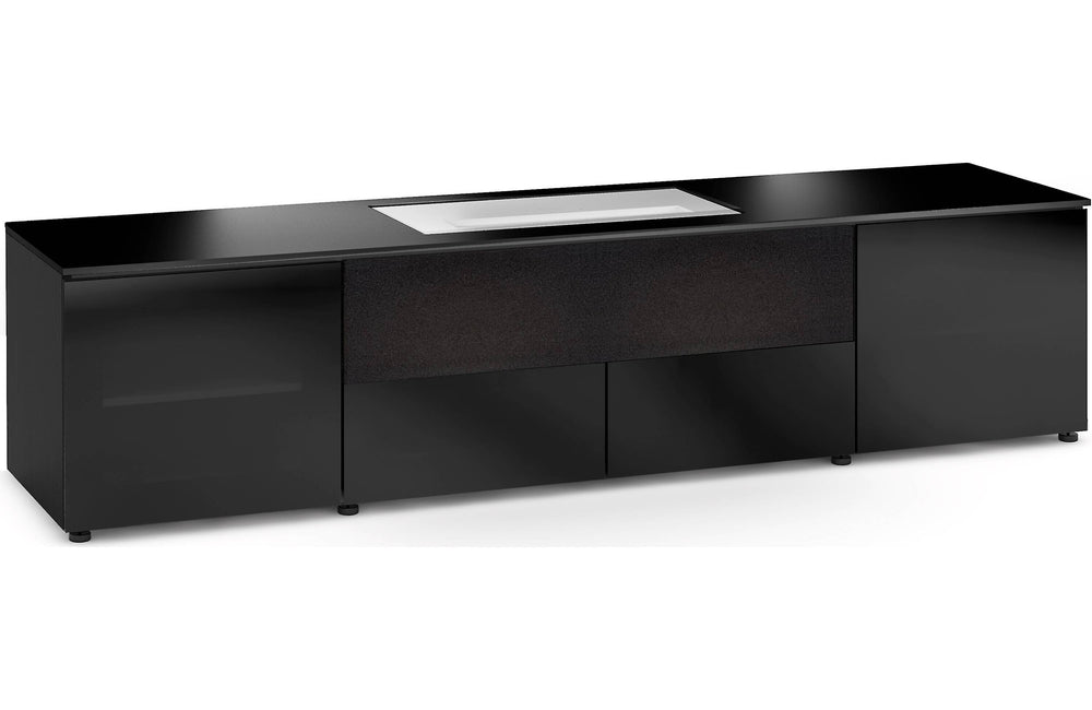 Salamander Oslo 245 Custom cabinet for LG HU85LA 4K Ultra Short Throw laser projector (Black Oak, Black Glass Doors)