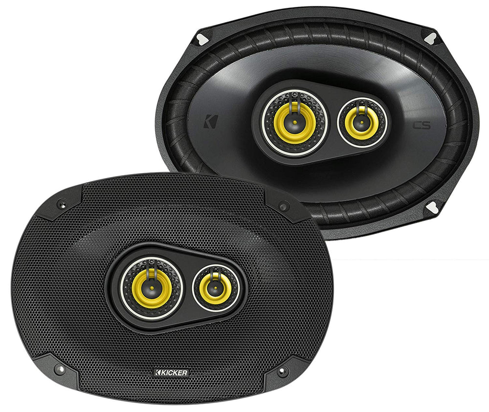 Kicker 46CSC6934 Car Audio 6x9 3-Way Full Range Stereo Speakers Black