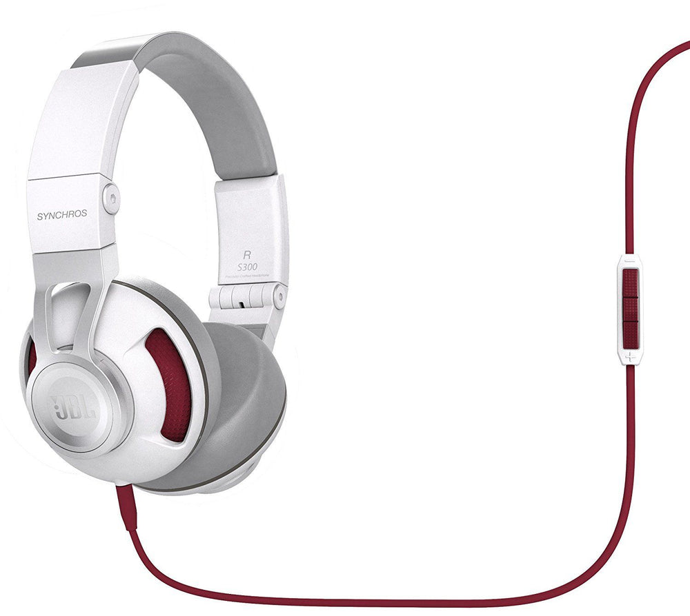 JBL Synchros S300i On-Ear Stereo Headphones 3-Button Remote (White/Red)
