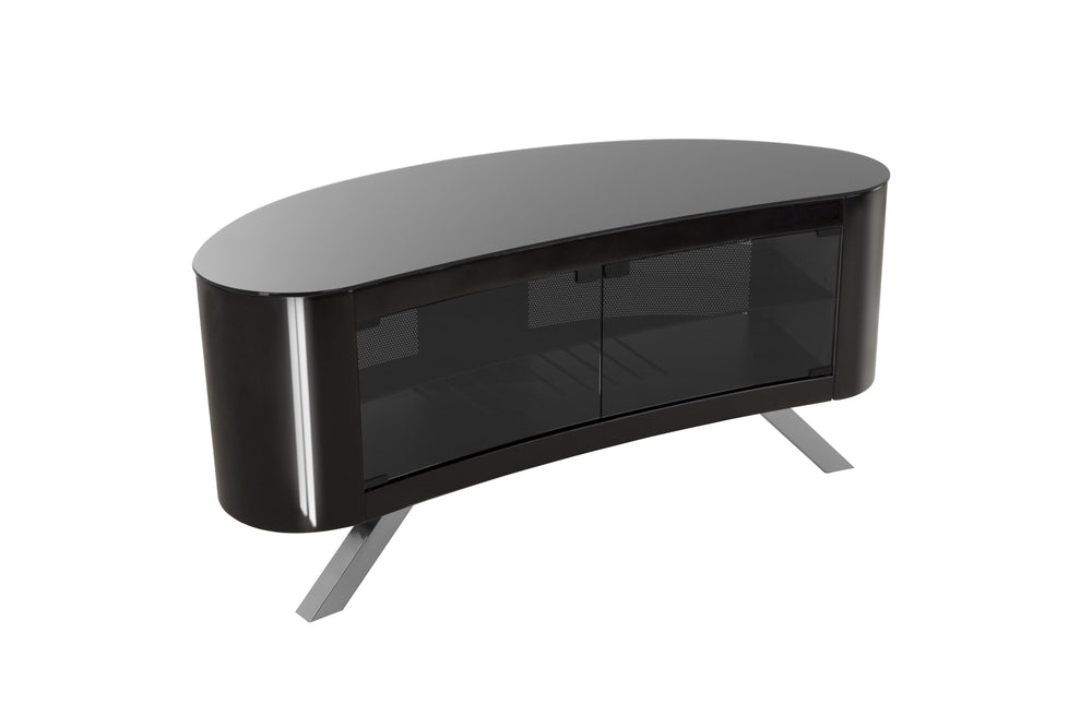 AVF Affinity Plus - Bay Plus 1150 Curved TV Stand (Black/Black Glass)