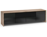 Salamander Chameleon Barcelona 247, C/BA247/NW/BG Quad-Width AV Cabinet, Natural Walnut with Black Glass Doors