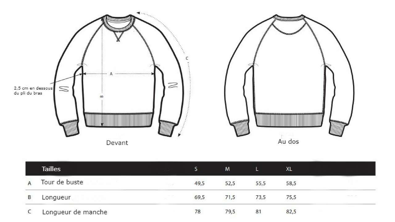 guide des tailles sweat homme