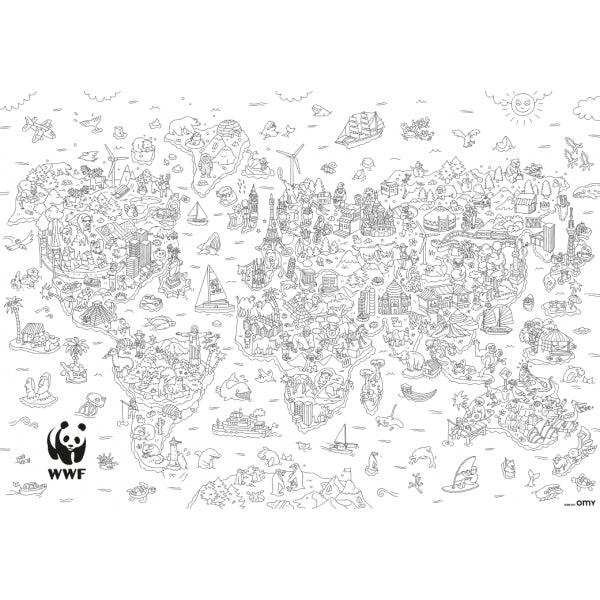 carte du monde coloriage Carte du monde XXL à colorier – Boutique WWF France