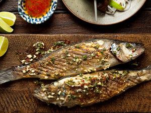 Grilled sea bass with Greek dressing | Lotus Grill