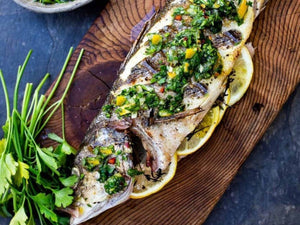 Grilled Branzino With Preserved Lemon Gremolata | Lotus Grill