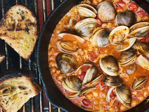 Chile Lime Clams with Tomatoes and Grilled Bread | Maze Grill | Lotus Grill