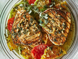 Grilled Swordfish with Tomatoes and Oregano | Lotus Grill