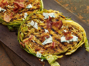 GRILLED CABBAGE STEAKS WITH BACON & BLUE CHEESE | Lotus Grill | Maze Grill