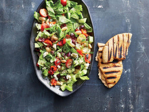 Greek Chopped Salad with Grilled Pita | Maze Grill | Lotus Grill Hong Kong