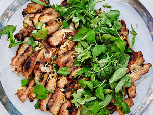 Grilled Pork Shoulder Steaks With Herb Salad | Charcoal HK | Lotus Grill