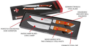Steak Champ Knives: Wood Handle With 2 Stainless Steel Reiverts and End Cap | Coba Grills