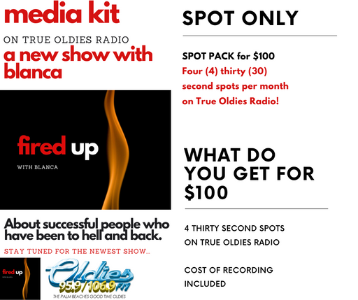 Fired Up Radio Show on True Oldies Radio - SPOT PACKAGE for Fired Up!