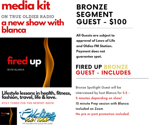 Fired Up Radio Show on True Oldies Radio - BRONZE SEGMENT SPONSOR