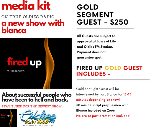 Fired Up Radio Show on True Oldies Radio - GOLD SEGMENT SPONSOR