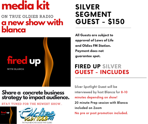 Fired Up Radio Show on True Oldies Radio - SILVER SEGMENT SPONSOR