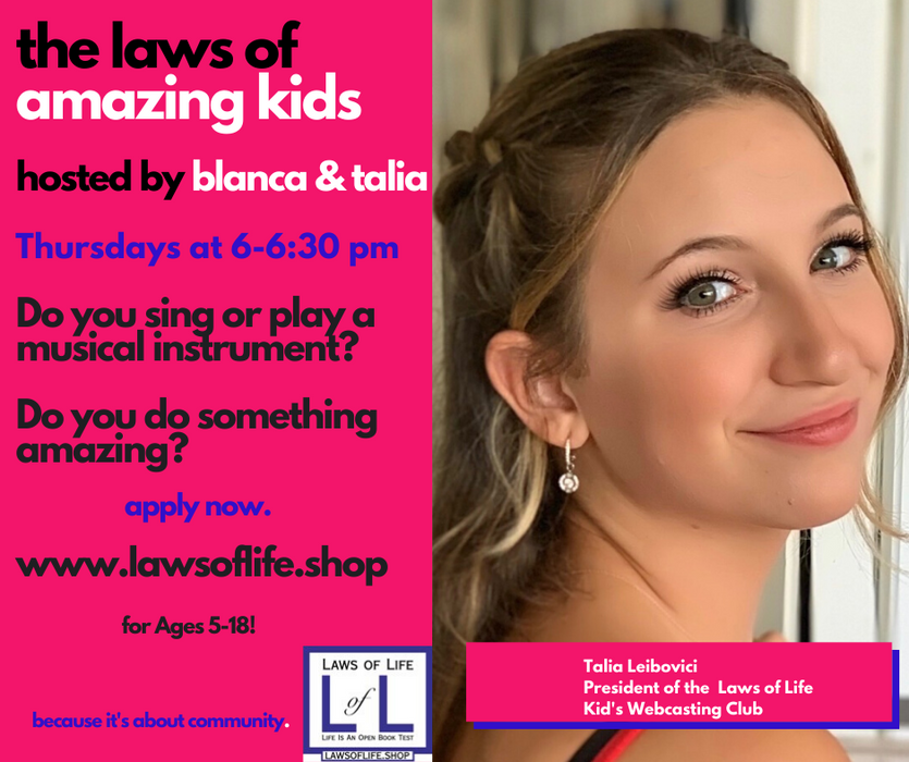 The Laws of Life Kid's Webcasting Coaching Club - Per Month Basis - $149 per month