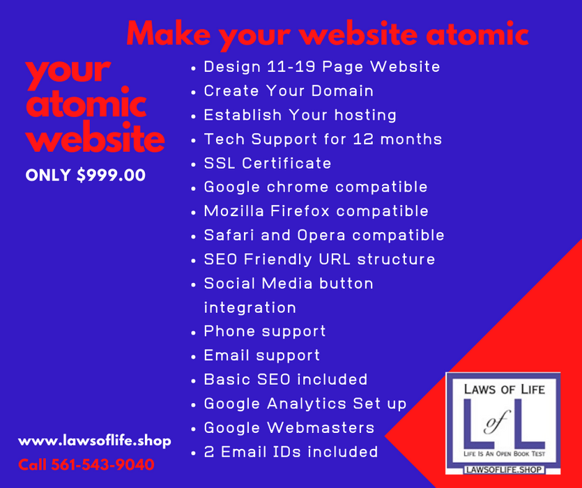 Your Atomic Website- $999.00