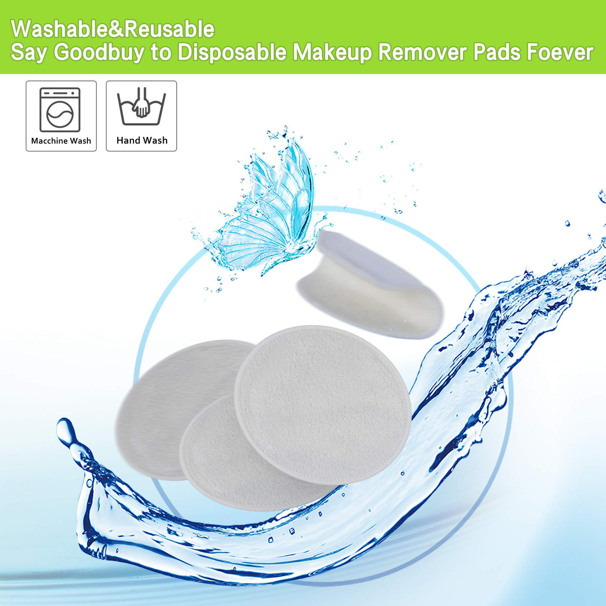 2947fbdad829 Reusable Cotton Pads - Navly Makeup Remover Cloth,Washable Bamboo Face  Cloth with Laundry Bag(12 Pcs)
