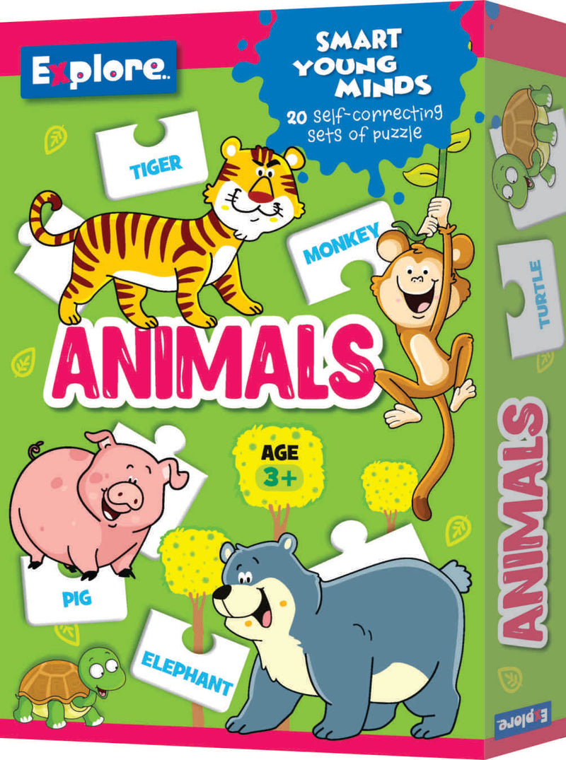 Smart young minds - Alphabet,Animals and counting puzzles