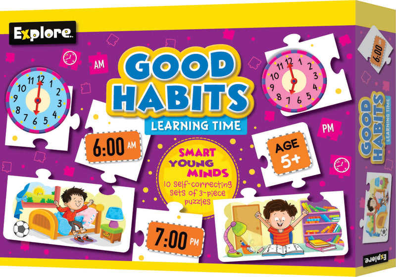 Smart young minds - Good habits learning time, know the world and transport puzzle