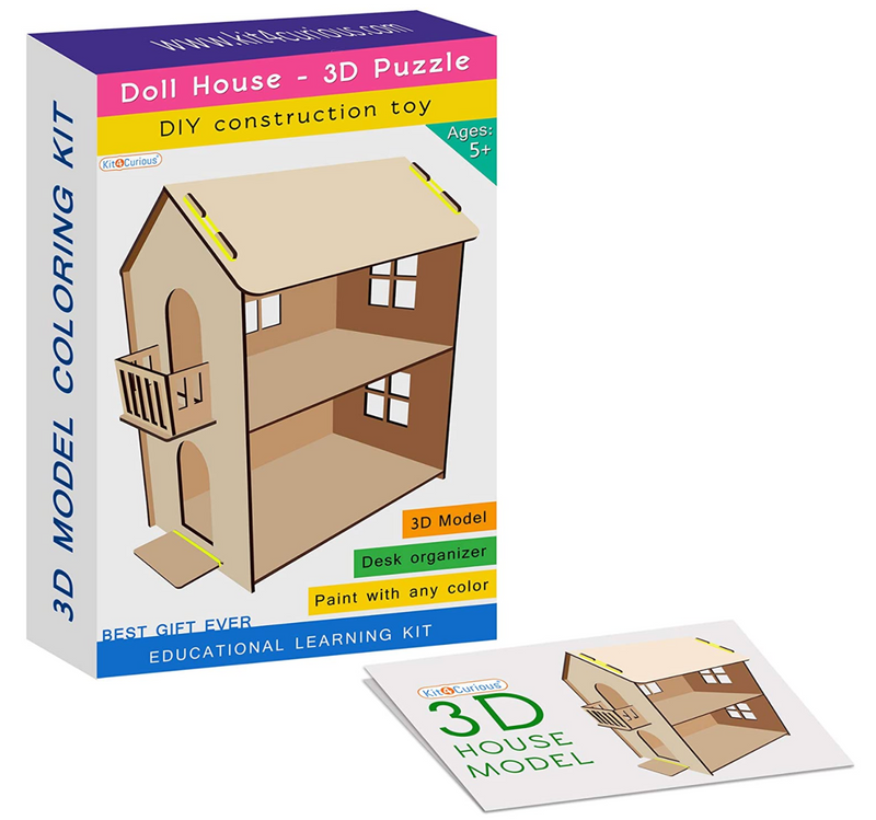 Kit4Curious - DIY Doll House 3D Puzzle Construction Toy Assembly kit