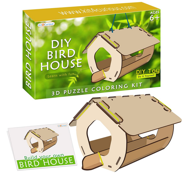 Kit4Curious -DIY Bird House - 3D Puzzle Coloring Model assembly kit