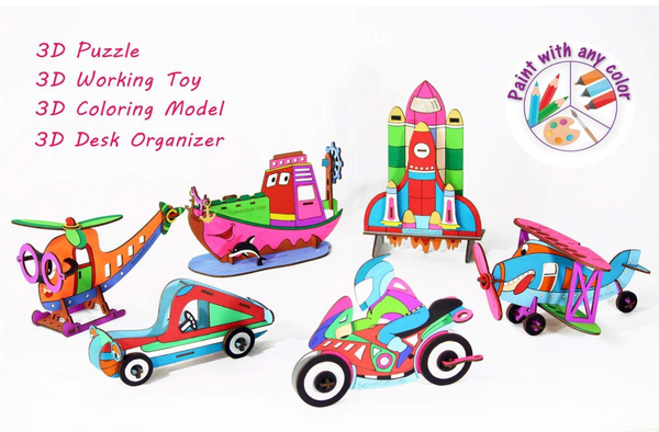 Funvention - 3D Coloring Models Combo of 6 (Bi Plane,Ship,SpaceShuttle,Bike, Car & Helicoter)