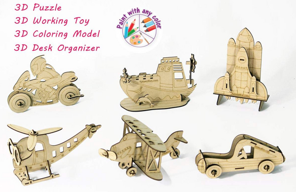 Funvention - 24 pieces of 3D Coloring Models Combo of 6 (Bi Plane,Ship,SpaceShuttle,Bike, Car & Helicoter)