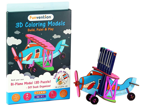 Funvention - 3D Coloring Model Biplane(Pack of 24) - DIY Desk Organizer Pen Stand