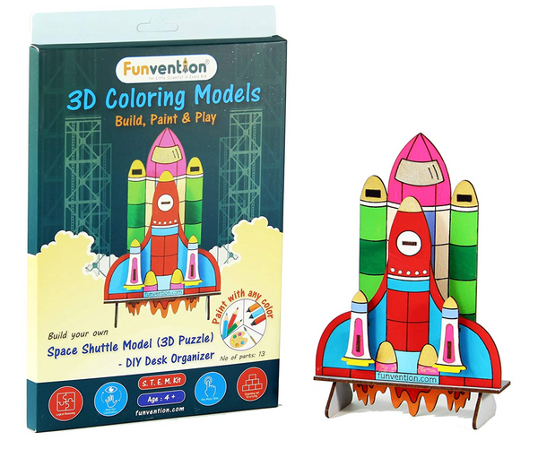Funvention - 3D Coloring Model space shuttle (Pack of 24) - DIY Desk Organizer Pen Stand