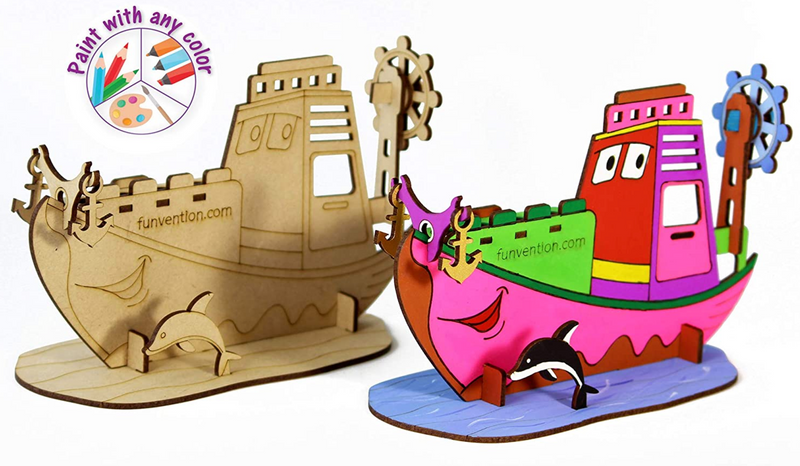 3D Coloring Model Ship (Pack of 24) - DIY Desk Organizer Pen Stand