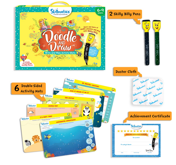Skillmatics -Doodle and Draw | Learning & Activity Games | Sketching, Drawing, Creative, Art | Erasable & Reusable Mats