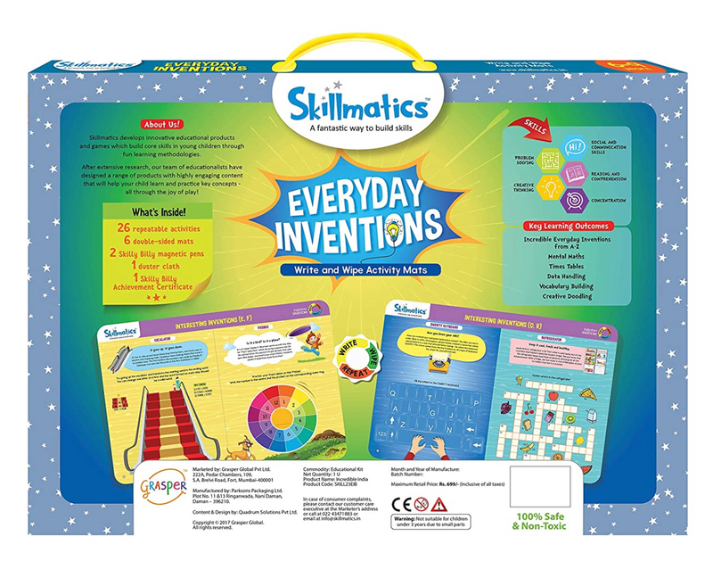 Skillmatics -Everyday inventions | Learning & Activity Games | Sketching, Drawing, Creative, Art | Erasable & Reusable Mats