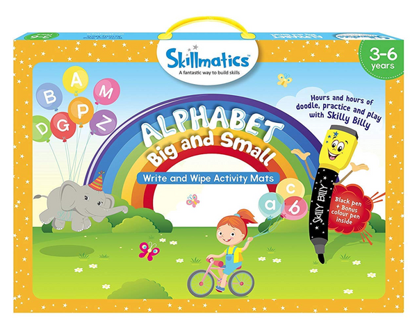 Skillmatics - Alphabet big and small (3-6 Years) | Learning and Activity Games | Erasable and Reusable Mats
