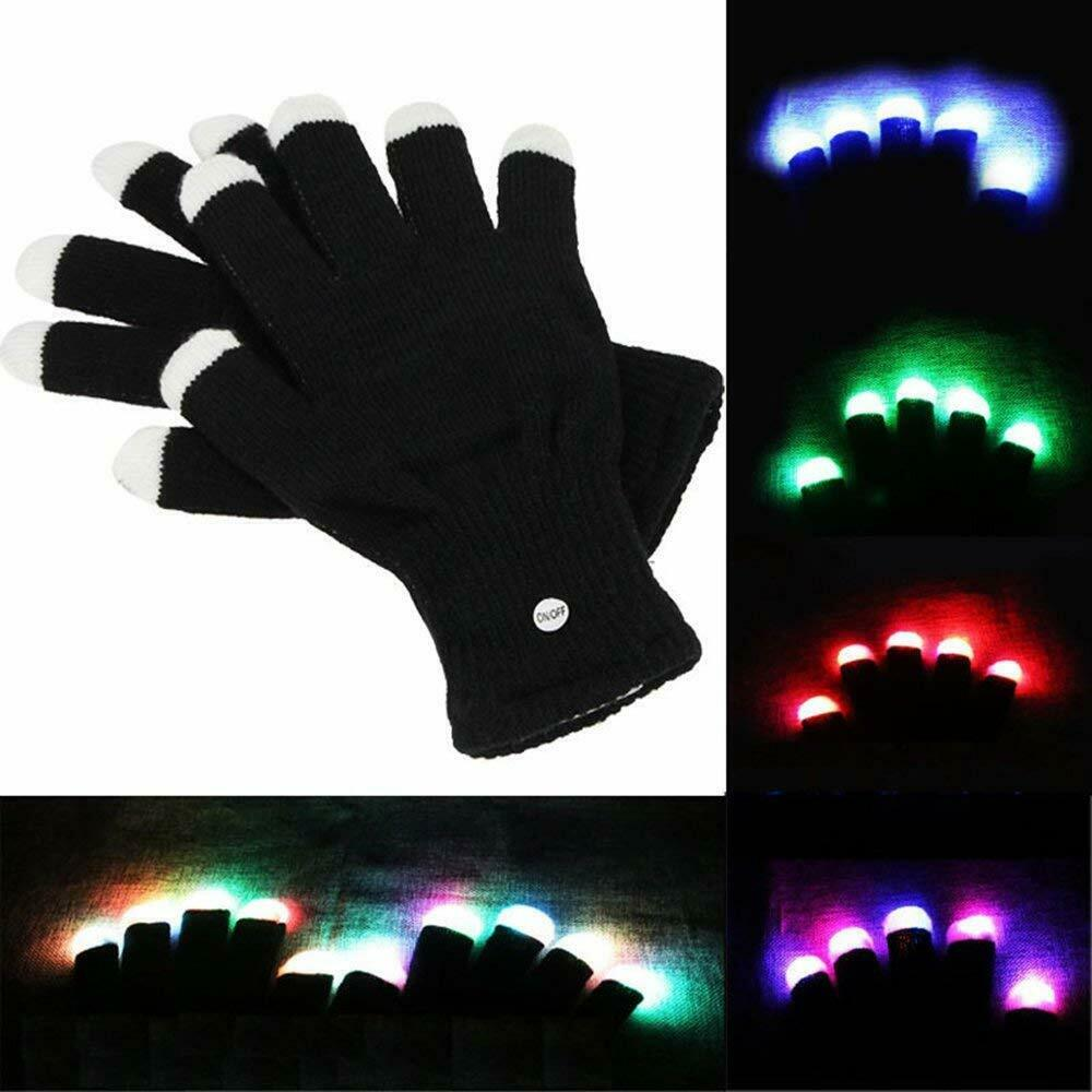 TSSPLUS™LED Rave Flashing Gloves Glow 7 Mode Light Up Finger Tip Lighting