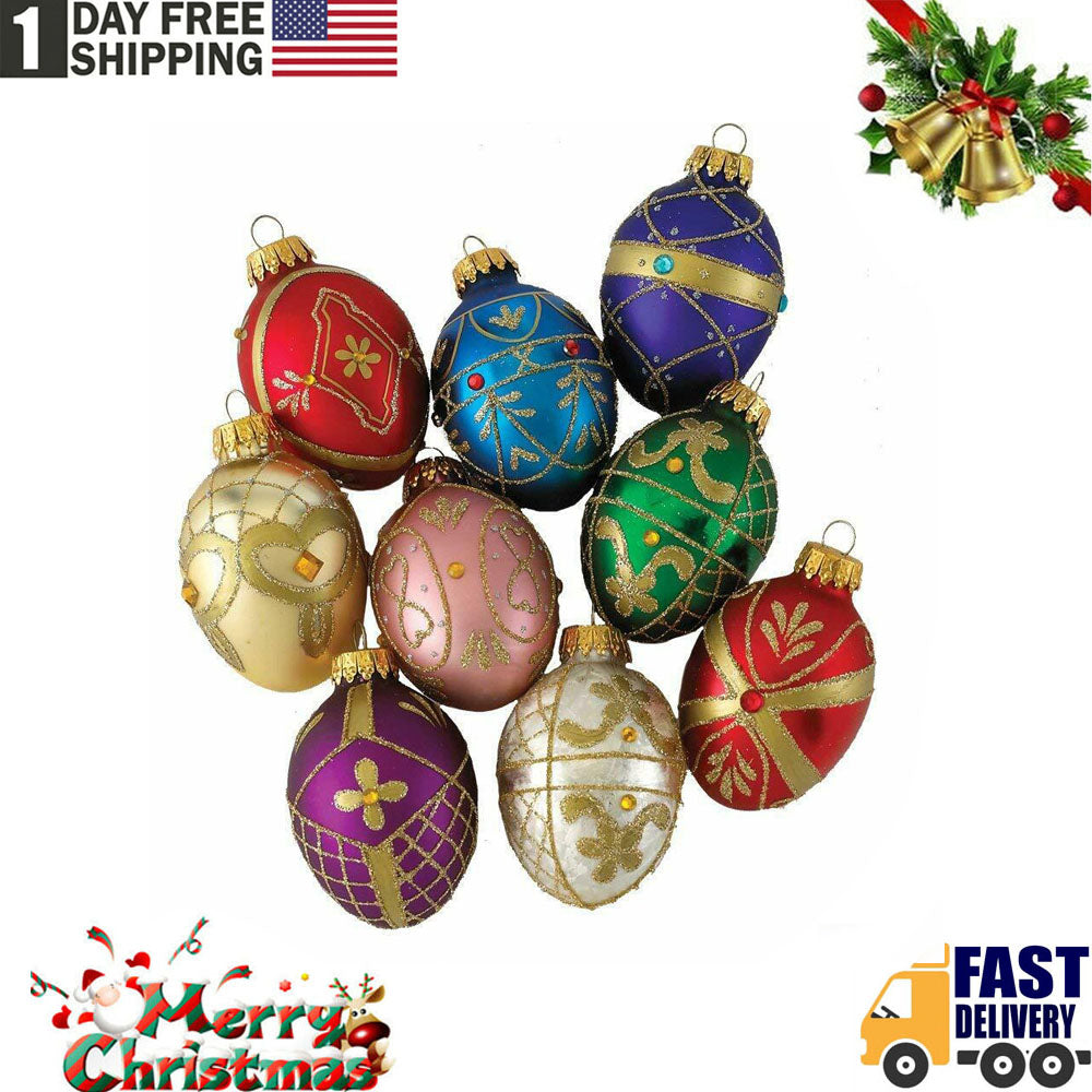 TSSPLUS™ Faberge Inspired Decorative Eggs Glass Christmas Ornaments Set of 9