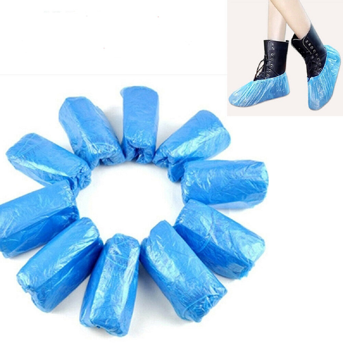 100PCS Waterproof Boot Plastic Cover Disposable Hospitality Medical Covers Shoe