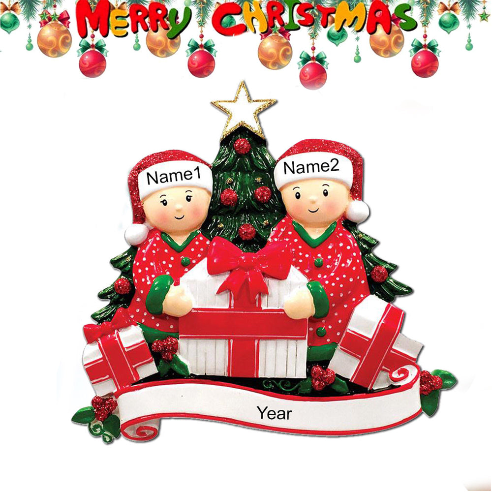 TSSPLUS™Personalized Christmas Tree Ornament Opening Presents Gift Family
