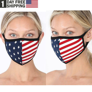 TSSPLUS™Soft Cotton American Flag USA Face Mask Double Layer Fashionable Reusable