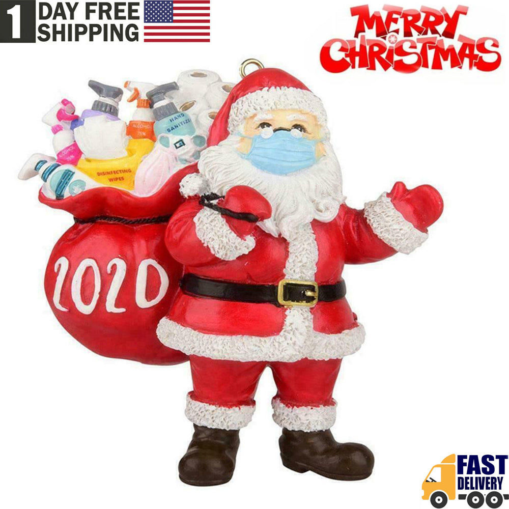 TSSPLUS™Christmas Tree Ornaments 2020 Santa Wearing Mask Hanging Decor