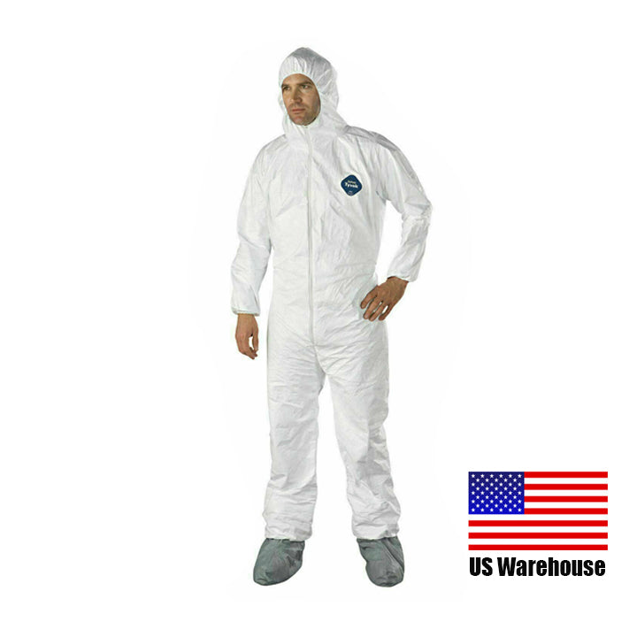 TSSPLUS™Dupont Tyvek 400 TY122S XL Coveralls with Hood&Skid-Resistant Boots,White