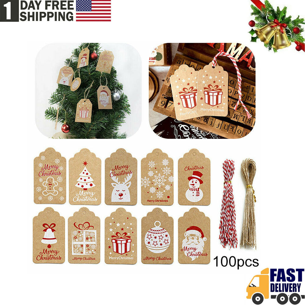 Christmas Kraft Paper Gift Tags Scallop Label Luggage Blank + Strings(100Pcs )
