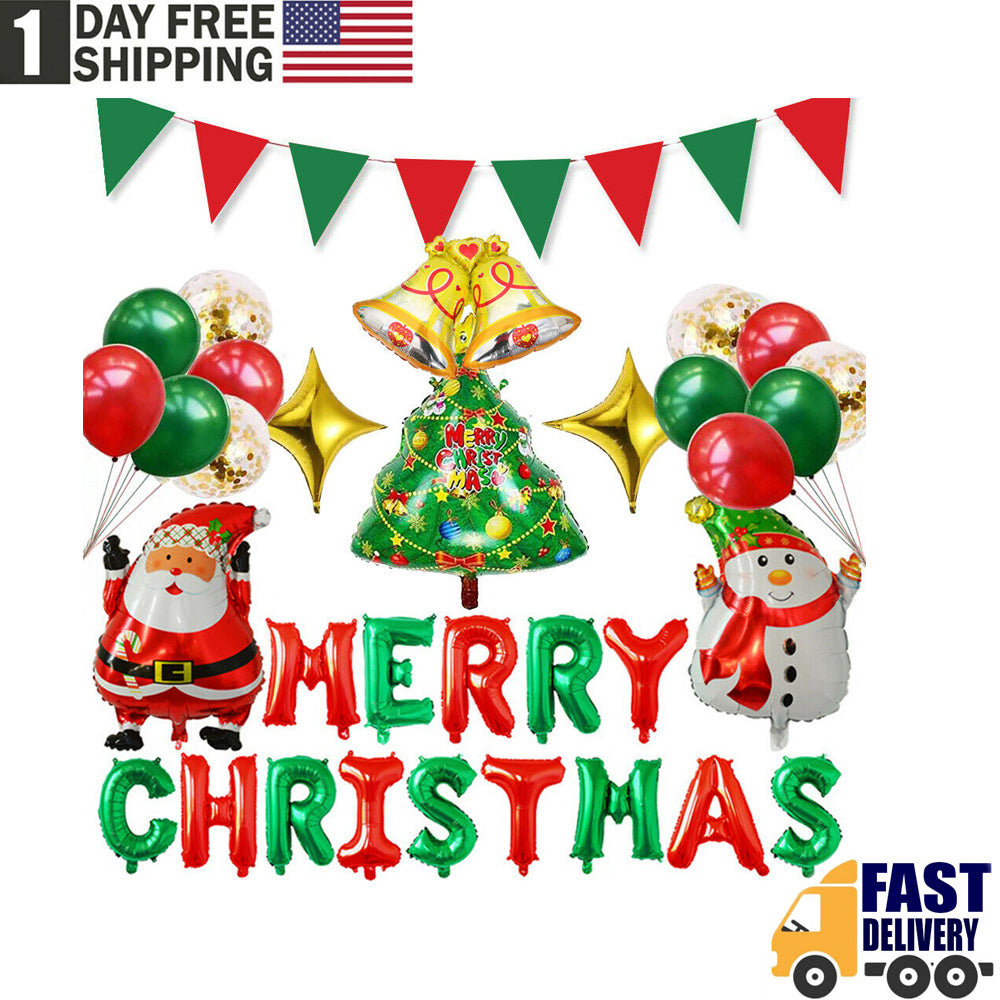 TSSPLUS™Merry Christmas Balloons Kit Banner Latex Balloon Santa Christmas