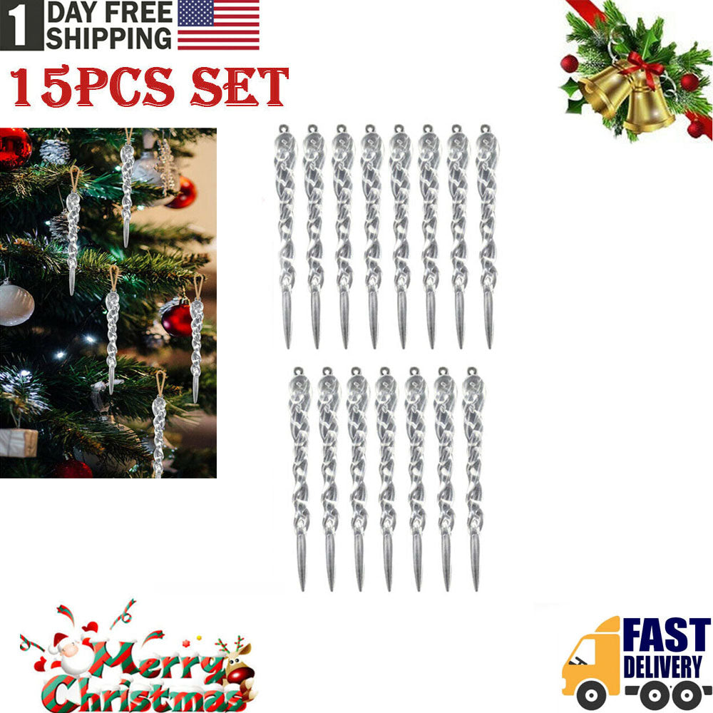 TSSPLUS™15Pcs Twisted Clear Icicle Christmas Ornaments Tree Home Party DIY Decoration