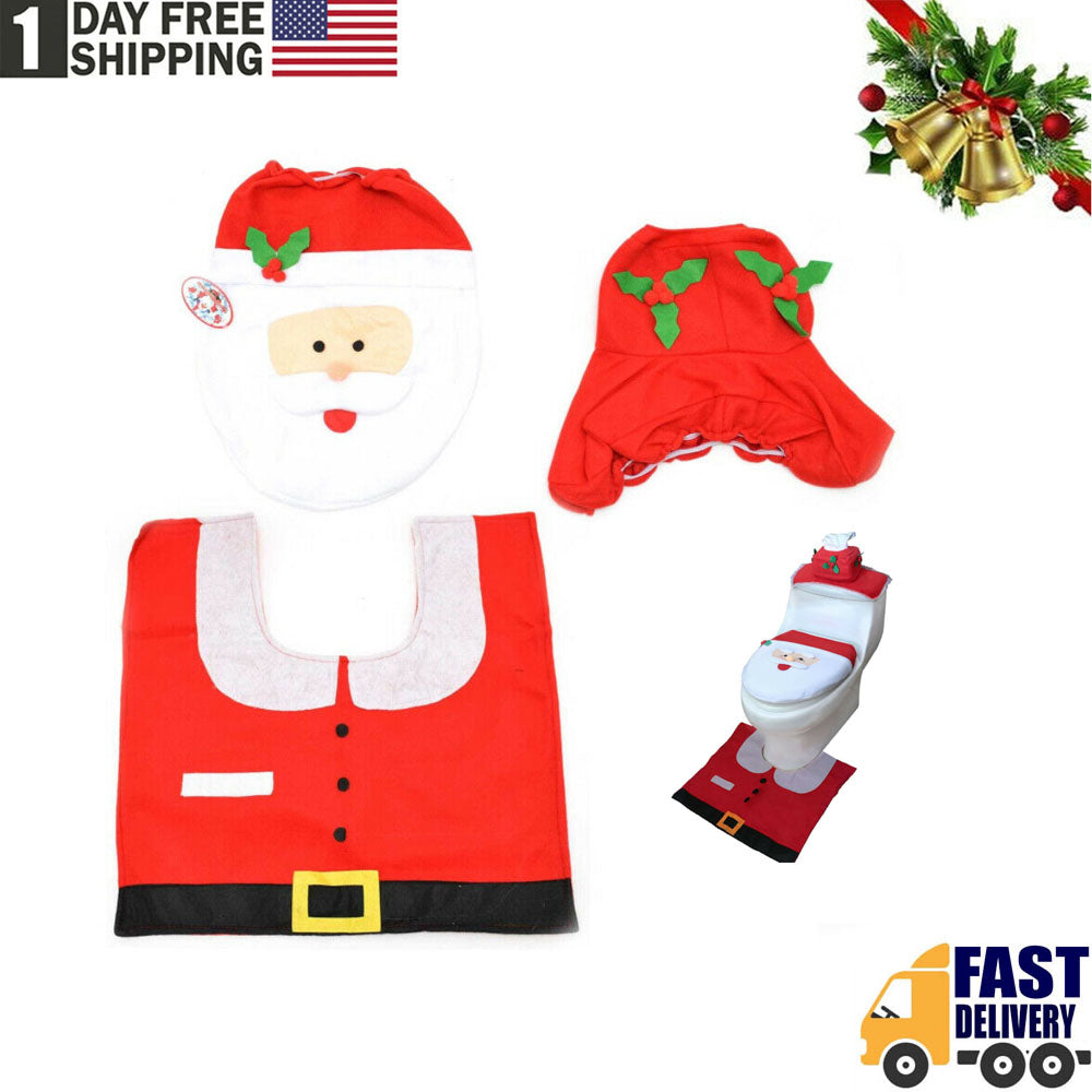 TSSPLUS™ 3Pcs/set Christmas Santa Toilet Seat Xmas Decoration Cover+Rug Bathroom Mat Gift