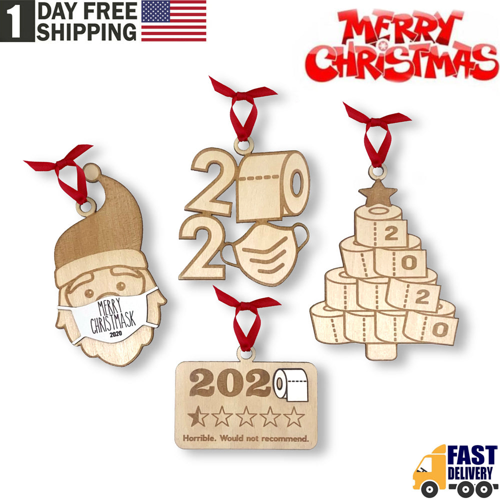 TSSPLUS™2020 Xmas Christmas Ornament Wooden Handmade Quarantine Set Toilet Paper Mask