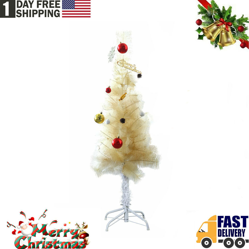 TSSPLUS™4FT Tall Champagne Christmas Tree Artificial w/ Stand Holiday Decoration Yelllow