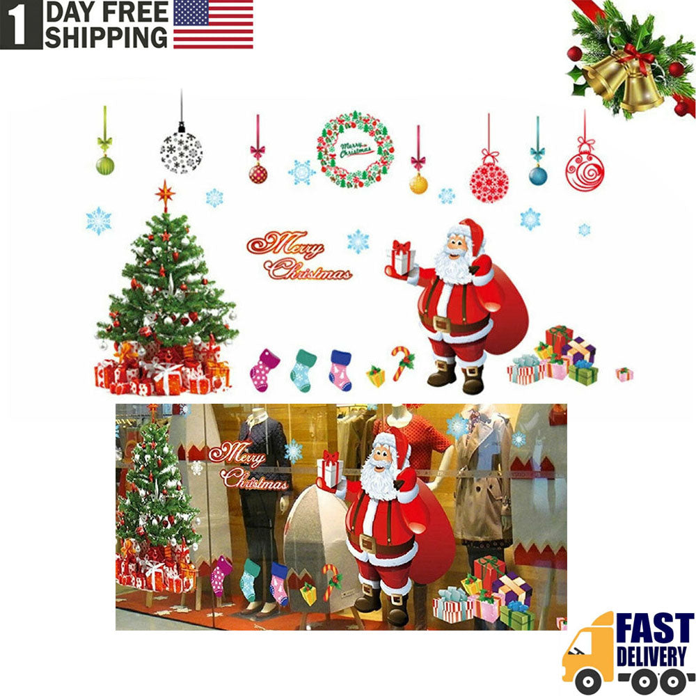 TSSPLUS™Merry Christmas Tree Wall Window Oversized Stickers Decals Xmas Home Shop Decor